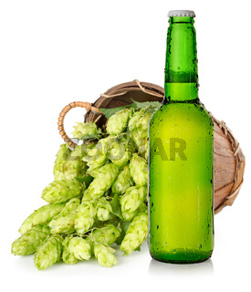 Beer and hops in basket