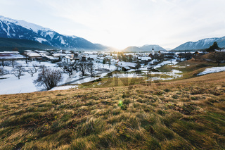 Sunset in alpine snow winter landscape in the Austrian mountains, Wildermieming, Tirol, Austria