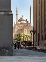 Great Mosque of Muhammad Ali Pasha, framed by Al Rifai Mosque and Sultan Hassan Mosque, Citadel of Cairo in Egypt