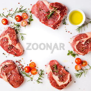 ribeye steaks with fragrant spices prepared to cooking