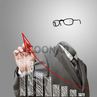 invisible business man draws growth graph