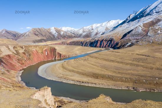 beautiful nujiang river landscape in tibet