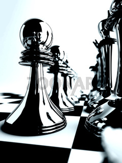 chessmen of black color on checkered board