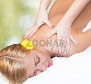 Relaxing massage for young beautiful woman
