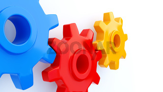 Gears Symbol red blue yellow