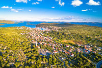 Jezera on Murter island aerial panoramic view, archipelago of Dalmatia