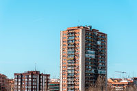 Apartment Building against blue sky in Madrid