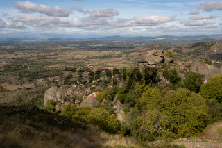 Monsanto historic stone houses village landscape view, in Portugal