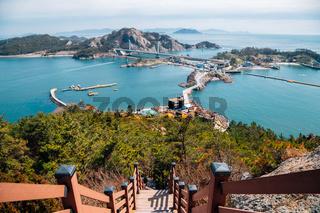 Panoramic view of Gogunsan Islands from Daejangbong peak in Gunsan, Korea