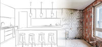 renovation concept drawing of a kitchen plan merge with interior photo -
