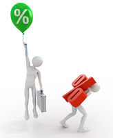 Businessmen with high and low interest rate loans