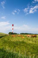 Leuchtturm an der deutschen Nordseeküste bei Butjadingen, Niedersachsen, Deutschland
