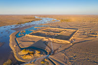 aerial view of the ruins of black water ancient city in sunset