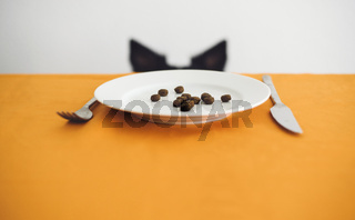 Dog Ears behind the Table. On the Table Is a Plate with Dog Food.