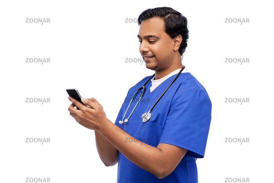 smiling doctor or male nurse using smartphone