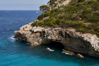 Paradise beach of the mediterranean sea with rocks