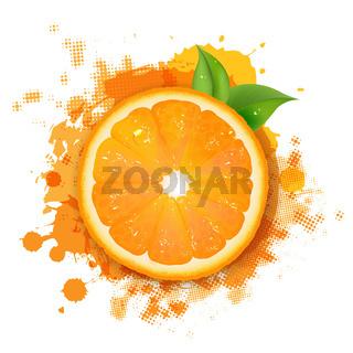 Orange With Orange Blob And Green Leaves