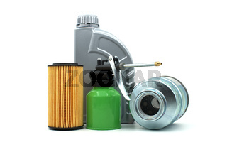 Motor oil and oil filters over white background