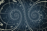Droste effect background. Abstract design for concepts related to astrology and fantasy.