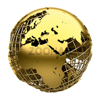 Stylized golden model of the Earth
