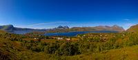 Panoramic view to Bostad village and Borgpollan fjord from Torvdalshalsen viewpoint at Vestvagoy Island, Lofoten, Norway
