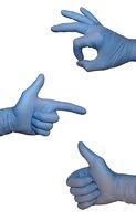 Zeichensprache in blauen Handschuhen