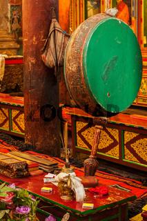 Large tibetan drum in Hemis gompa (Tibetan Buddhist monastery). Ladakh