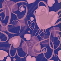 Valentines seamless pattern with hearts on blue background