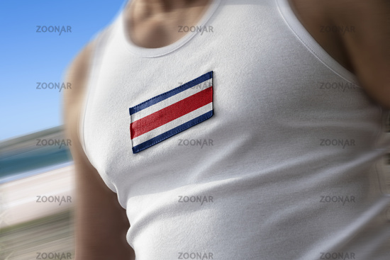 The national flag of Costa Rica on the athlete's chest