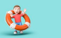 Young 3D Cartoon Character with Lifebelt on Blue Background with Copy Space