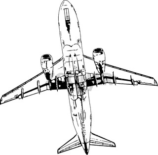 Vector black and white image of flying passenger plane