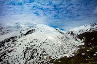 Furkapass above Andermatt in the Swiss Alps. Road over the Swiss Alps: