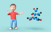 Young 3D Cartoon Character and Molecule on Blue Background