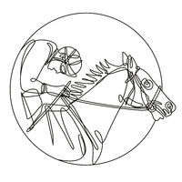 Jockey and Horse Racing Side View Inside Circle Continuous Line Drawing