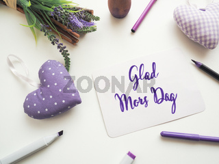 Glad Mors Dag, Swedish Thank you mother as brush lettering on a mother's day greeting card