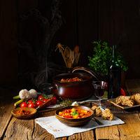 rustic Hungarian goulash soup with paprika