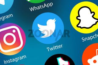 Twitter Logo soziale Medien Icon soziales Netzwerk im Internet Hintergrund