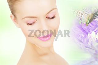 Collage. Beautiful girl near the purple chrysanthemum