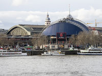 Cologne Main Station and Theatre Musical Dome - Köln Kölner Hauptbahnhof and Musical Dome Seen from Right Bank of River Rhine - Cologne