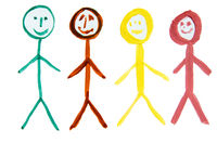 Four multicolored people, as a symbol of the diversity of nationalities, a watercolor drawing drawn by hand