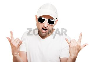 Smiling man gesturing