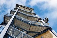 Steel staircase to watchtower near German river Elbe