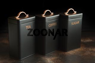 Set of 3 Storage Tins for housing teas, coffee and sugar. three Storage Jars