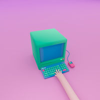 3d render, 3d illustration. Computer with keyboard, mouse and hand on keys.