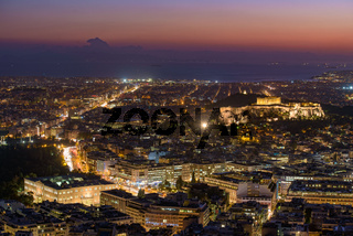 Panoramic view of Athens city from Lykavittos Hill at sunset time