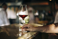 Man holding a glass of red wine in a restaurant or cafe on a wooden table in front of the window