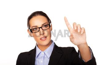 Businesswoman using a virtual interface