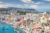 Procida panoramic view, Italy. The mediterranean Italian island close to Naples in a summer day.
