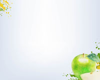 Watercolor Green Apple With Grey Background