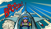 female high-speed modern fighter pilot. aviation and piloting